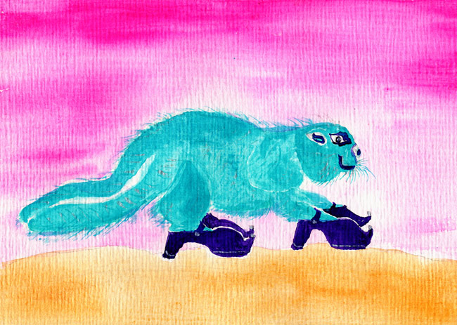 Green Beaver, Purple Shoes - #64